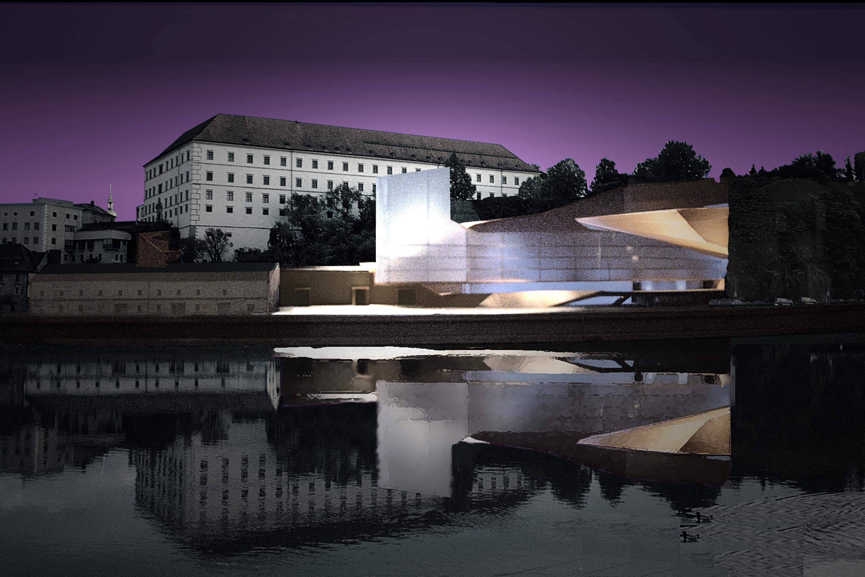 Musical Theater in the Mountain, Linz, collage. Berger+Parkkinen Architekten