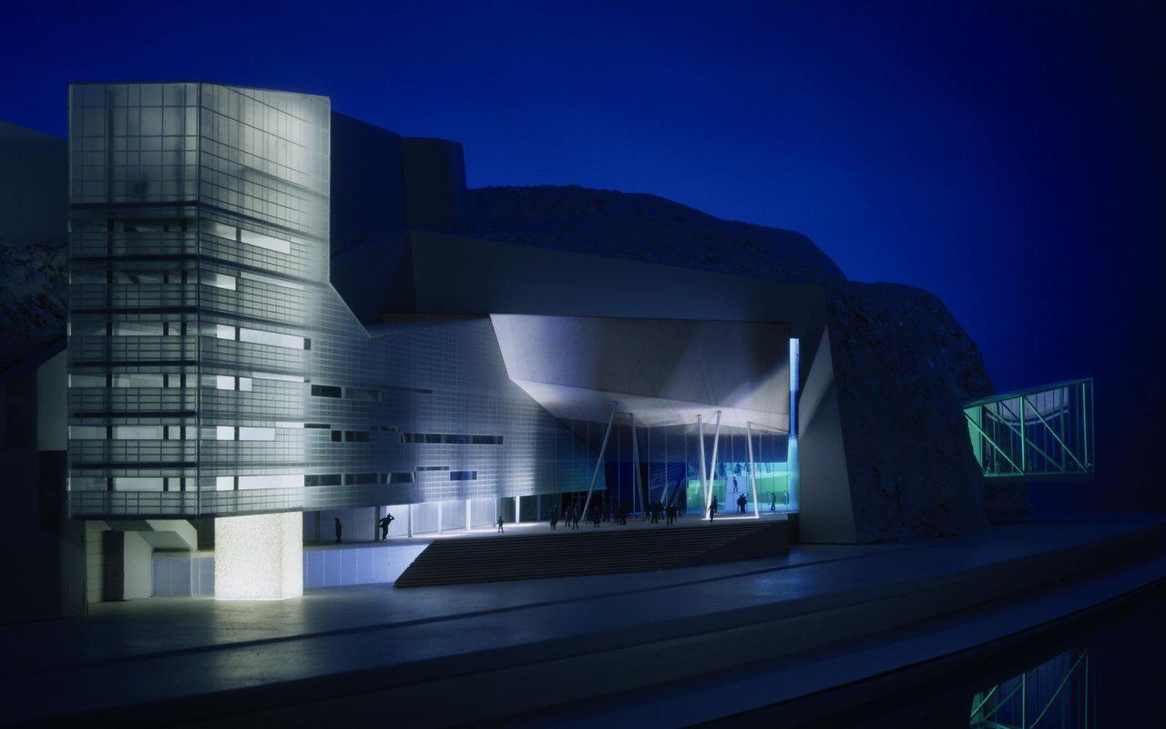 Musiktheater im Linzer Schlossberg, Ansicht von der Donau. Foto: Gerald Zugmann | Berger+Parkkinen Architekten