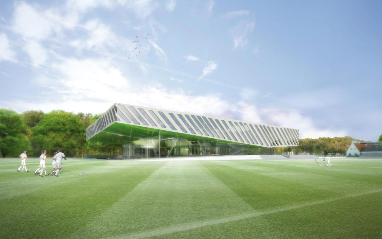 Fussballakademie RB Leipzig, Ansicht. Rendering: Berger+Parkkinen Architekten