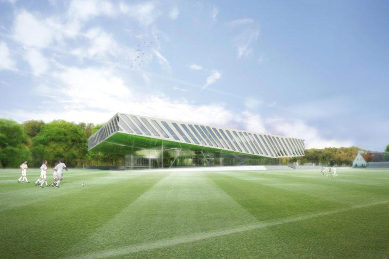 Fussballakademie RB Leipzig, Ansicht. Berger+Parkkinen Architekten