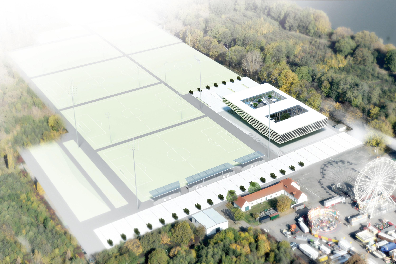 Fussballakademie RB Leipzig, Luftbild. Berger+Parkkinen Architekten