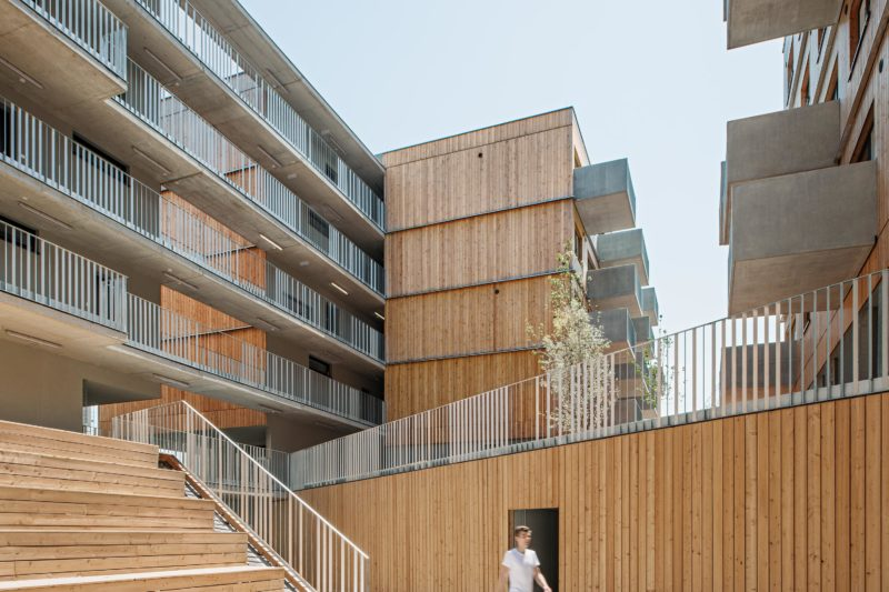 Wood Housing Seestadt Aspern, wooden tribune. Photo: Hertha Hurnaus | Berger+Parkkinen Architekten | querkraft