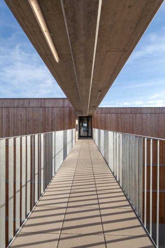 Erschliessungsbrücke im Holzwohnbau Seestadt Aspern. Foto: Daniel Hawelka | Berger+Parkkinen Architekten | querkraft